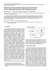 Fabrication and Characterization of Supersaturated Al-Mg Alloys by ...