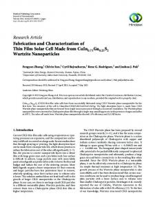 Fabrication and Characterization of Thin Film Solar Cell Made from ...