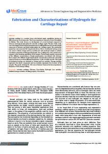 Fabrication and Characterizations of Hydrogels for Cartilage Repair