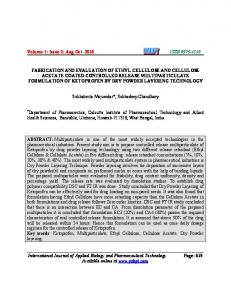 Fabrication and evaluation of ethyl cellulose and cellulose acetate ...