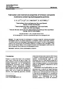 Fabrication and mechanical properties of chitosan composite ...