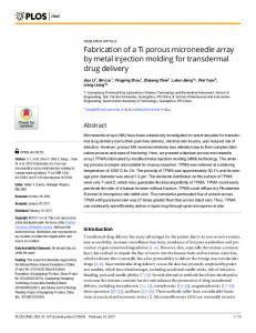 Fabrication of a Ti porous microneedle array by metal injection ... - PLOS