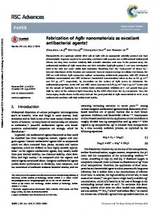 Fabrication of AgBr nanomaterials as excellent