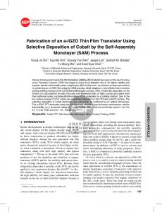 Fabrication of an a-IGZO Thin Film Transistor Using Selective ...