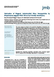 Fabrication of Biogenic Antimicrobial Silver Nanoparticles by ...