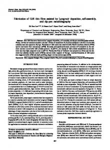Fabrication of CdS thin films assisted by Langmuir ... - Springer Link