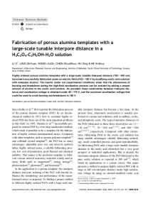 Fabrication of porous alumina templates with a large ... - Springer Link