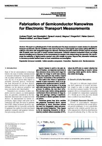 Fabrication of Semiconductor Nanowires for