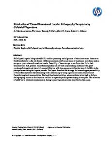 Fabrication of Three-Dimensional Imprint Lithography Templates by