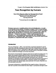 Face recognition by humans - MIT