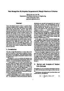 Face Recognition By Stepwise Nonparametric Margin ... - CiteSeerX