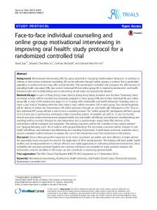 Face-to-face individual counseling and online group ... - Springer Link