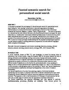 Faceted semantic search for personalized social ... - Semantic Scholar