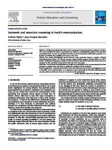 Facework and uncertain reasoning in health ... - Google Sites