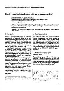 Facially amphiphilic thiol capped gold and silver nanoparticles