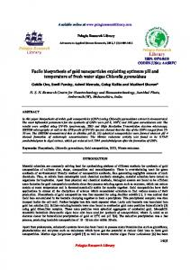 Facile biosynthesis of gold nanoparticles exploiting ... - iMedpub
