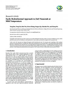 Facile Hydrothermal Approach to ZnO Nanorods at Mild Temperature