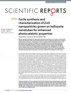 Facile synthesis and characterization of ZnO ...