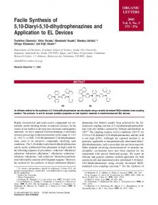 Facile Synthesis of 5,10-Diaryl-5,10-dihydrophenazines and ...