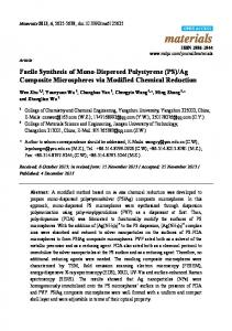 Facile Synthesis of Mono-Dispersed Polystyrene (PS) - MDPI