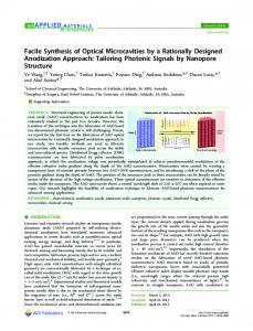 Facile Synthesis of Optical Microcavities by a ... - ACS Publications