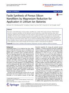 Facile Synthesis of Porous Silicon Nanofibers by