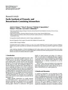 Facile Synthesis of Pyrazole-and Benzotriazole-Containing