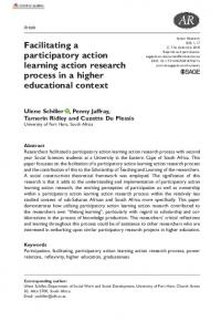 Facilitating a participatory action learning action research process in a