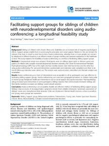 Facilitating support groups for siblings of children with ... - Springer Link