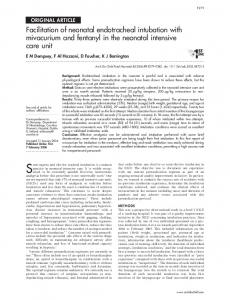 Facilitation of neonatal endotracheal intubation with mivacurium and ...