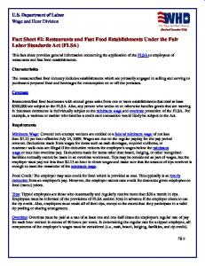 Fact Sheet #2: Restaurants and Fast Food Establishments Under the ...