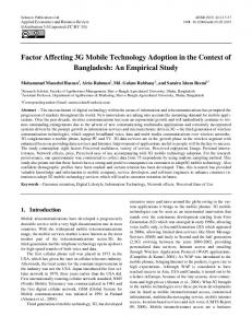 Factor Affecting 3G Mobile Technology Adoption in ...