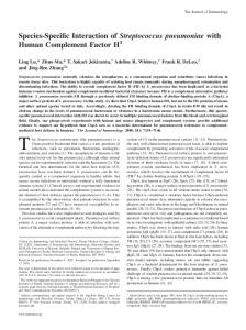 Factor H with Human Complement pneumoniae Streptococcus ...