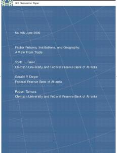 Factor Returns, Institutions, and Geography: A View From Trade Scott ...