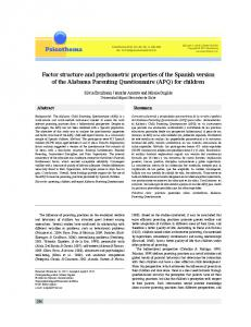 Factor structure and psychometric properties of the ... - Semantic Scholar