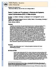 Factor V Leiden and Thrombosis in Patients with Systemic Lupus ...