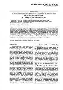 factorial experimental design for adsorption silver ions from water onto ...