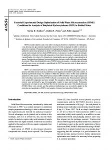 Factorial experimental design optimization of solid phase ...
