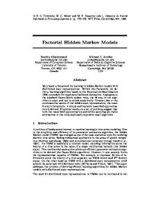 Factorial Hidden Markov Models - CiteSeerX