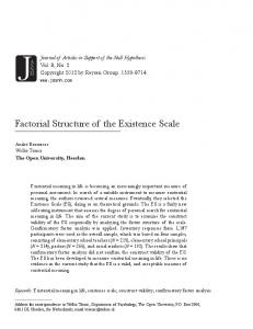 Factorial Structure of the Existence Scale - CiteSeerX