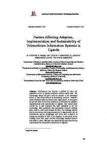 Factors Affecting Adoption, Implementation and Sustainability of ...