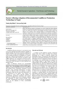 Factors Affecting Adoption of Recommended Cauliflower Production ...