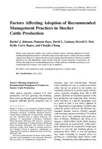 Factors Affecting Adoption of Recommended Management Practices ...