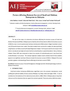 Factors Affecting Business Success of Small and ...