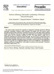 Factors Affecting Charismatic Leadership of Primary