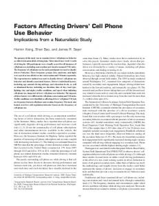 Factors Affecting Drivers' Cell Phone Use Behavior - SAGE Journals