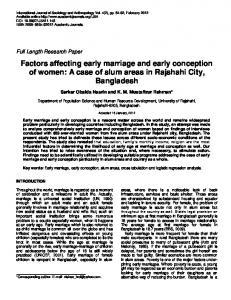 Factors Affecting Early Marriage and Early ... | Academic Journals