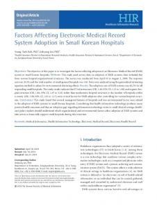 Factors Affecting Electronic Medical Record ... - KoreaMed Synapse