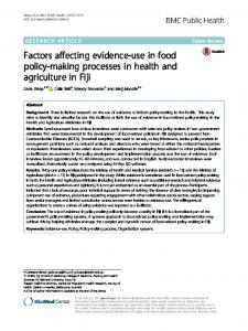 Factors affecting evidence-use in food policy