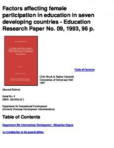 Factors affecting female participation in education ... - AgEcon Search